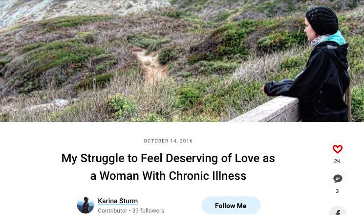 Screenshot of the personal essay about Karina Sturm's life with Ehlers-Danlos syndrome. It shows Karina standing on a bridge close to the pacific ocean looking thoughtful. She wears a black jacket and a black beanie