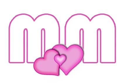 Das Logo des Müttermagzins: Zwei rosa-farbige M's und zwei große, und ein kleines Herz