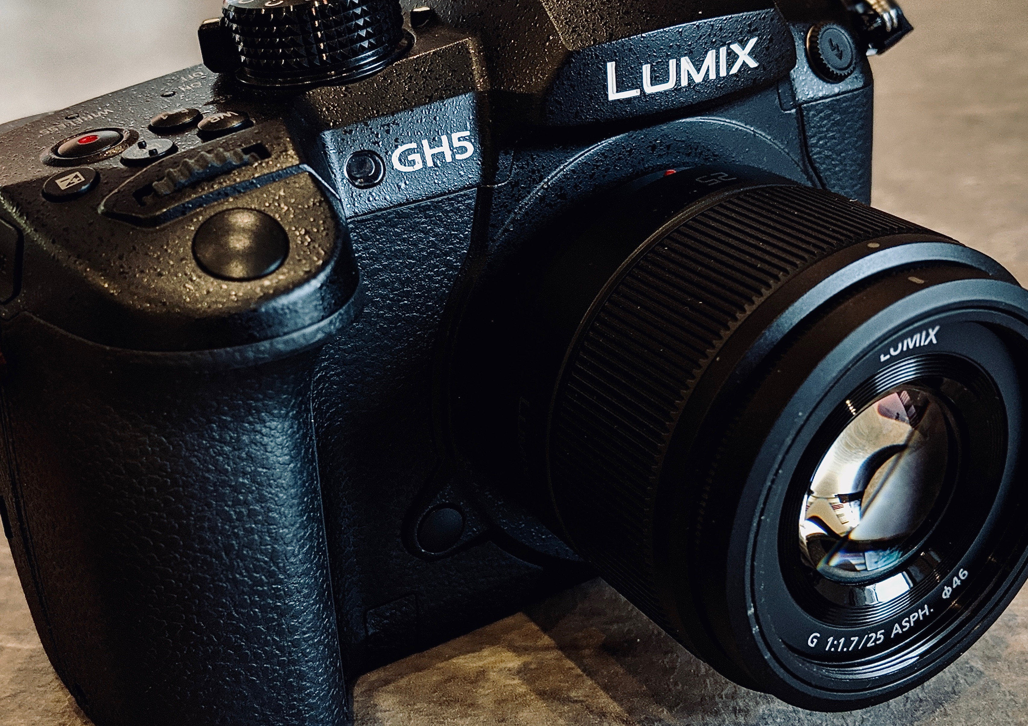 This picture shows a close-up of a Panasonic GH5 camera