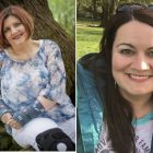 Two pictures. On the left is Denise B., a woman wearing a blue shirt, wrist and knee braces. She has short red hair and sits in front of a tree in the forrest. On the right is Rana T., a woman with long brown hair, who has sunglasses on her head, sitting in a park