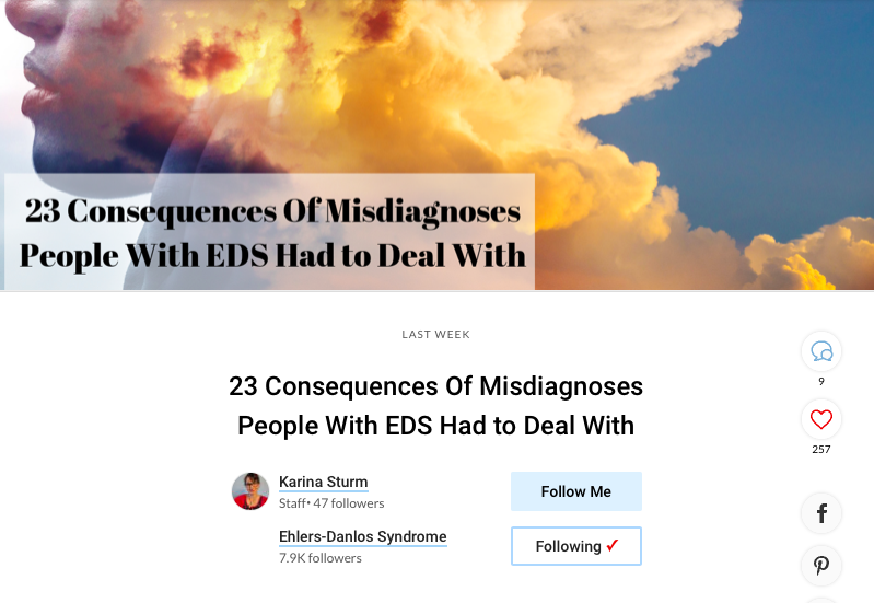"Screenshot of an article called ""23 Consequences Of Misdiagnosis People With EDS Had to Deal With"""