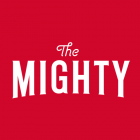 The Mighty Logo showing white letters on red background