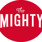 The Mighty Logo: White letter on red background