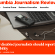 "Screenshot of the Columbia Journalism Review website. A picture of a laptop, pencil and paper, and der text: ""Why disabled journalists should report on disability"" can be seen."