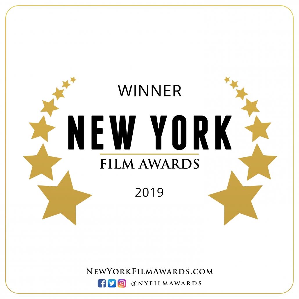 Winner Laurel: Black letters on white background with stars surrounding them. Winner New York Film Awards 2019