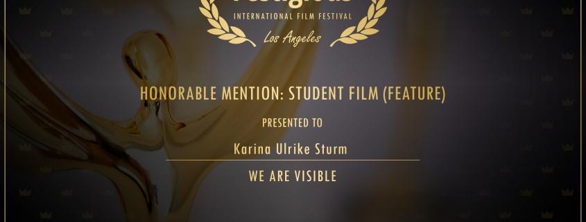 Winner Certificate: Festigious Winner, September 2019, International Film Festival, Los Angeles, Honorable Mention: Student Film (Feature), presented to: Karina Ulrike Sturm. We Are Visible