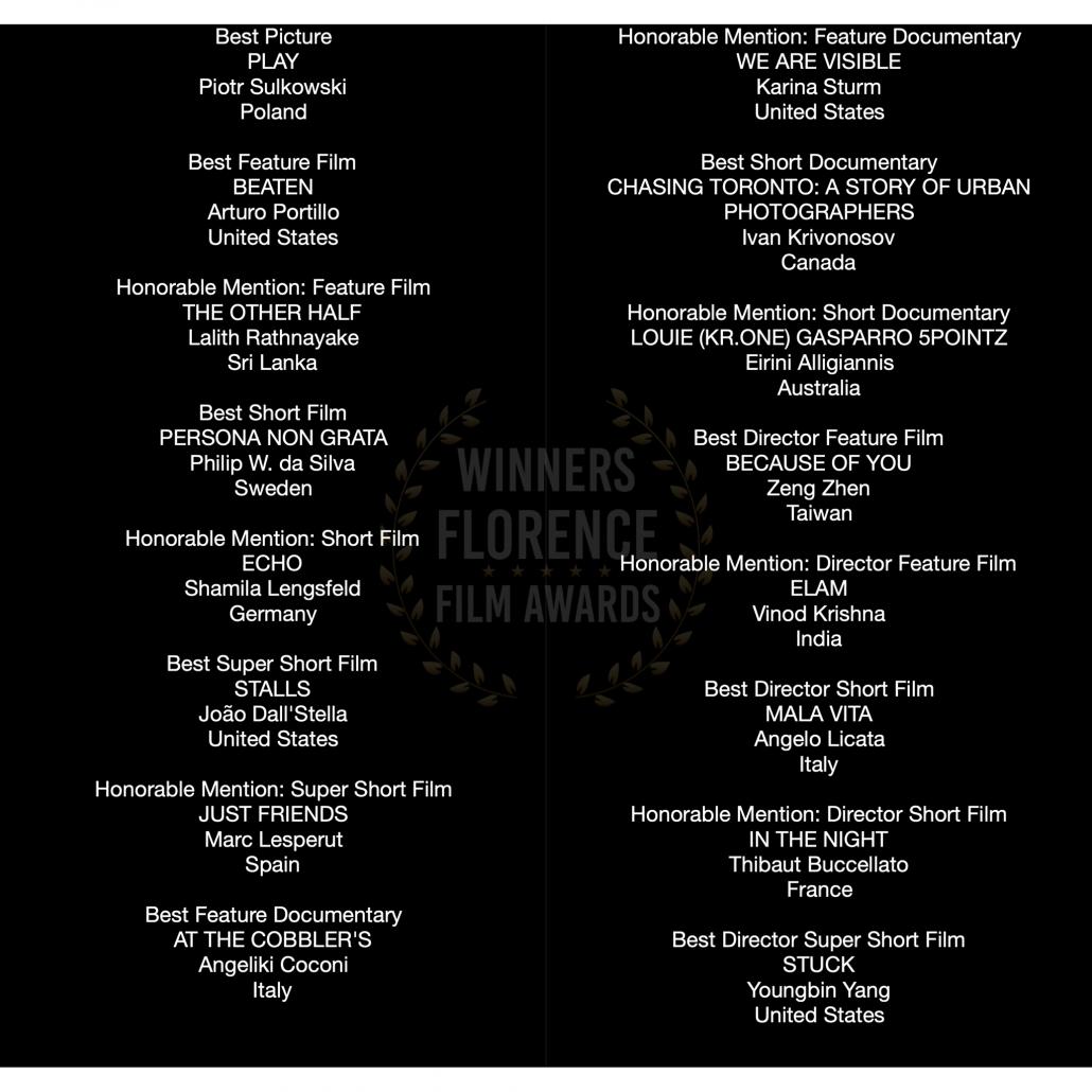 Winner of the Florence Film Awards