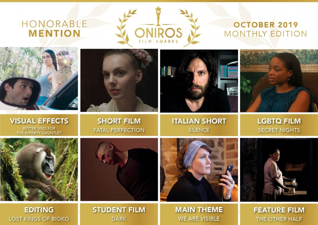 Split screen with all the honorable mentions by Oniros Film Awards. One of the images shows a contributor of We Are Visible with the text: Main Theme