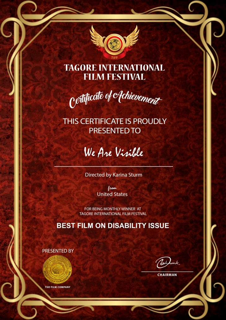 Certificate: Certificate of Achievement, We Are Visible, Best Film on Disability Issues